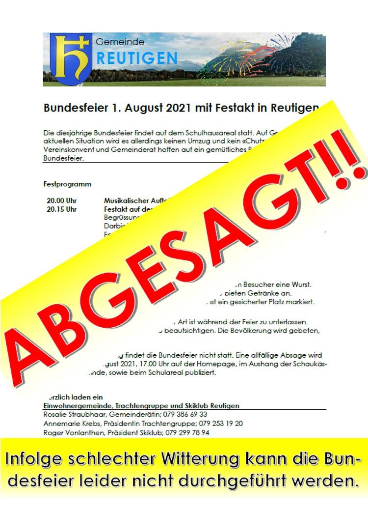 Absage Bundesfeier